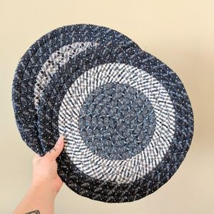 Round Blue Woven Braided Placemat / Set of 2